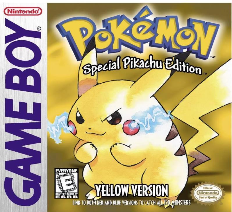 与皮卡丘的游戏男孩的口袋妖怪黄色的游戏封面