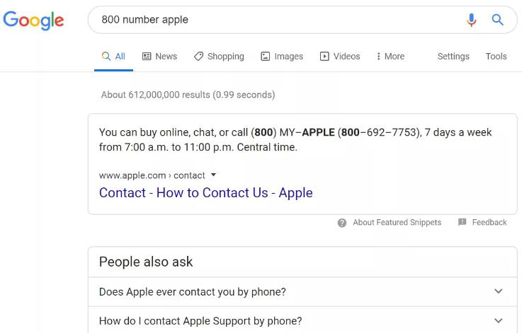 Number 800 from Apple Google Search