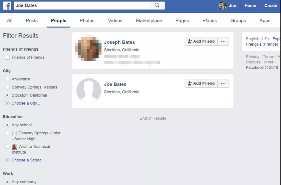 facebook搜索找人结果