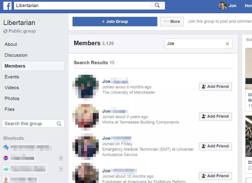 Facebook自由派团体和人员搜索