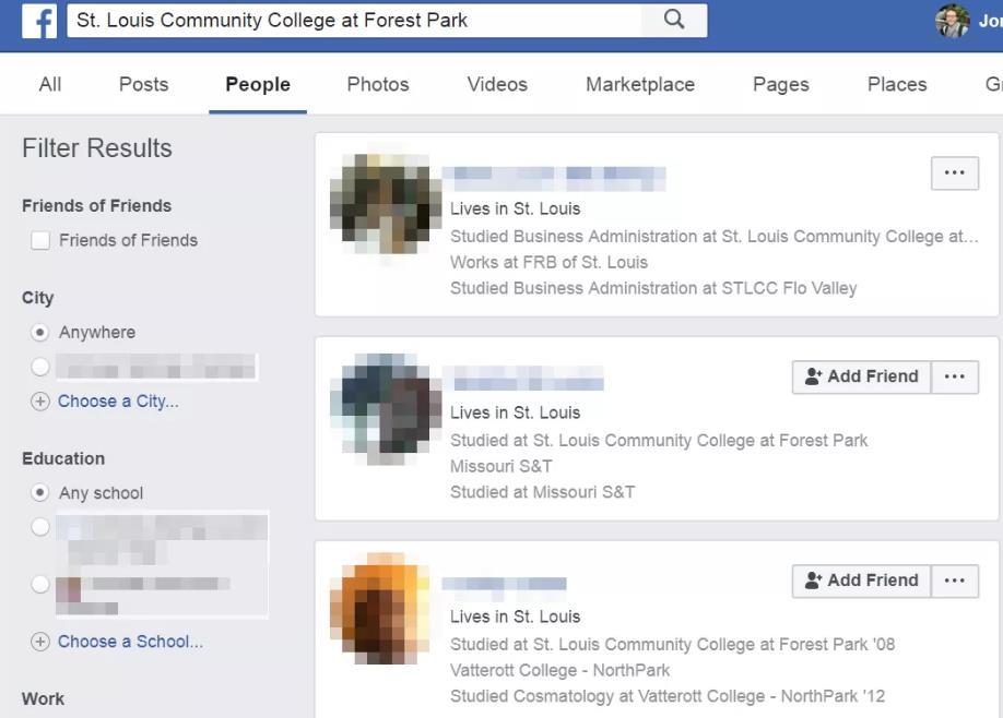 在facebook搜索学校找人