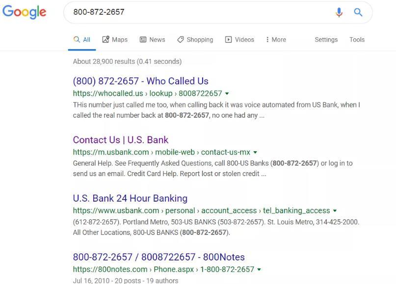 在Google.com上进行800号反向查询