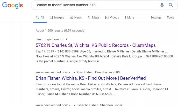 Examples of search for phone number on Google