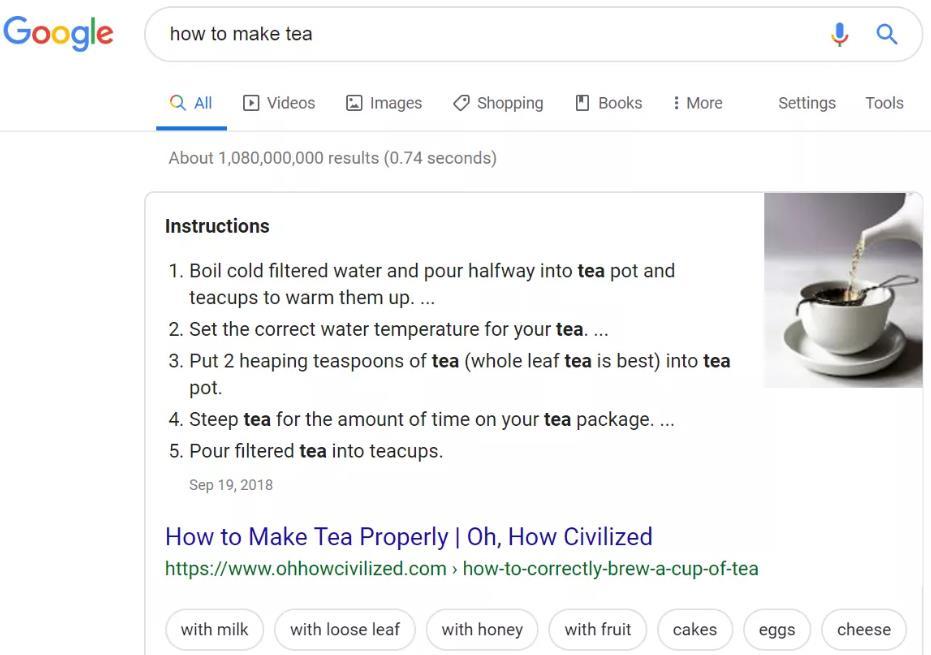 Google搜索结果以了解如何泡茶