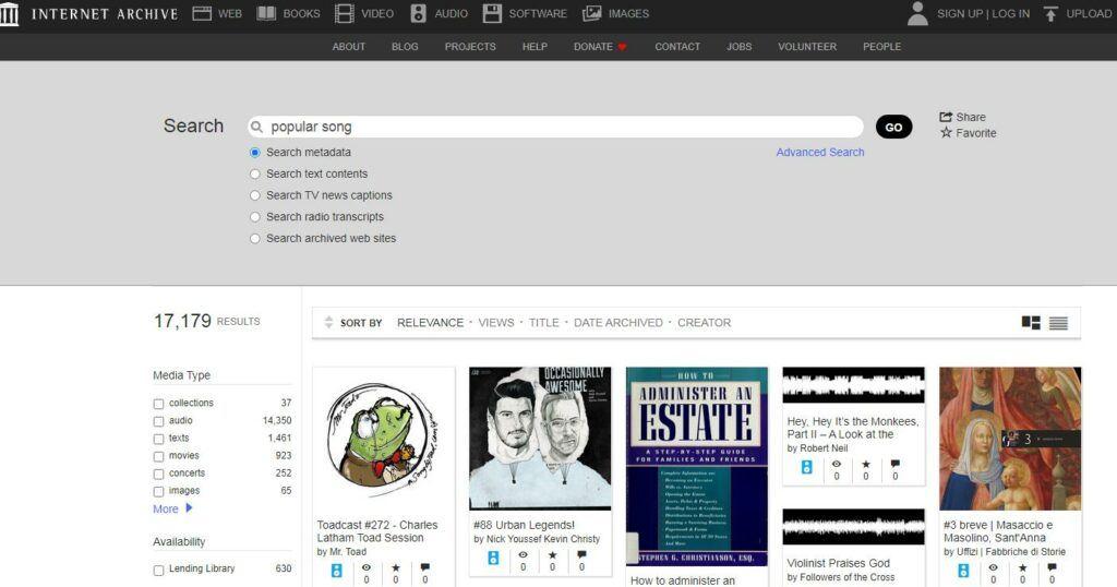 互联网档案搜索界面