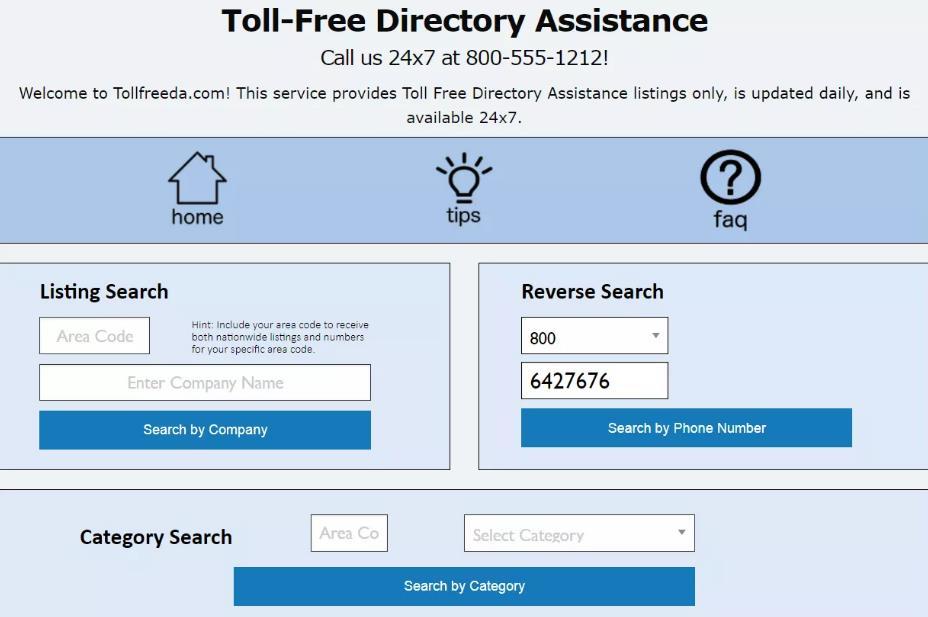 在tollfreeda.com上进行800反向搜索