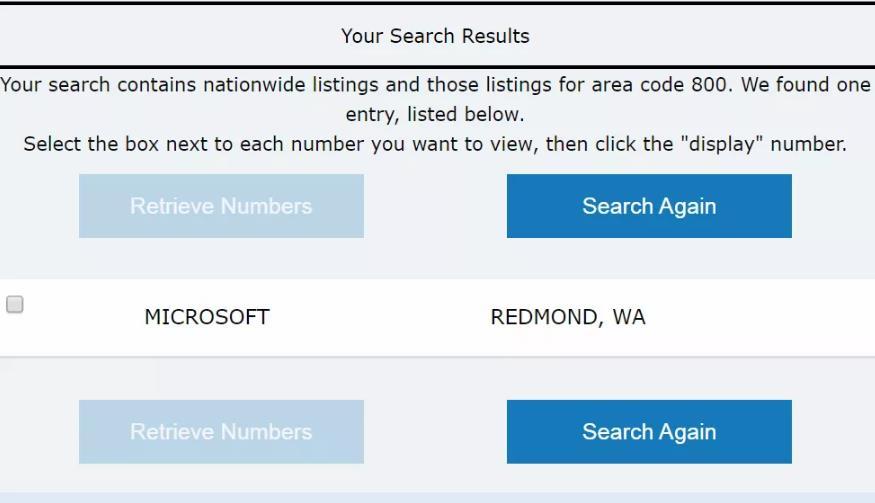 在tollfreeda.com上查找800反向号码的结果