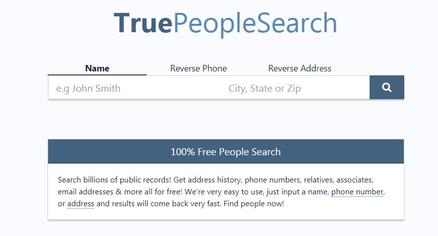 TruePeopleSearch.com按照姓名找人