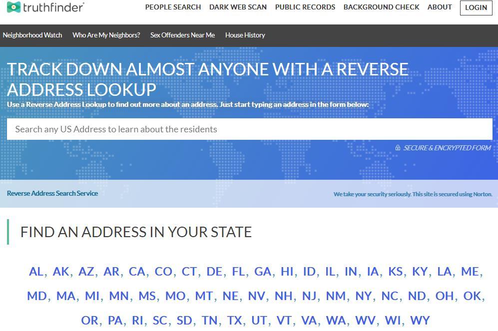 Truthfinder反向地址查找工具
