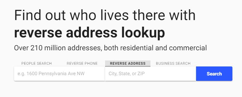 whitepages反向地址查找工具