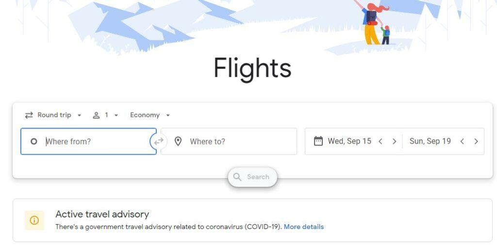 google flights 搜索截图