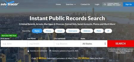 Melhor site de busca de e-mail e diretório de endereços: Infotracer